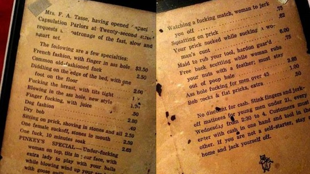 Brothel Menu from 1912 Is the Dirtiest Thing You'll Read All Day