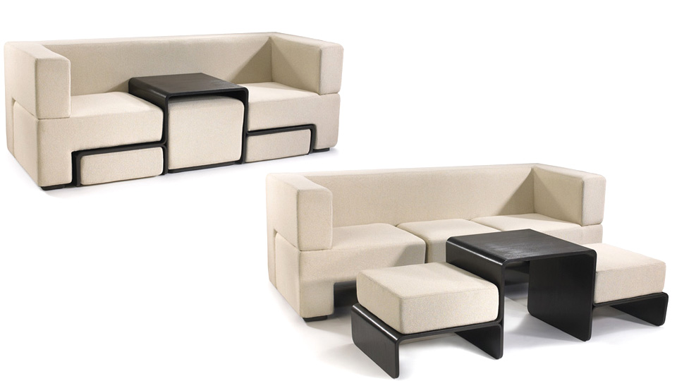 Slot sofa hides a coffee table and matching foot rests for 8 foot couch