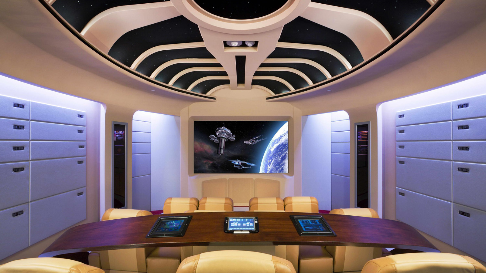 home theater interior design 2. This Star Trek  TNG home theatre was named the best theme installation at CEDIA 2007 16 Obscenely Over The Top Home Theatres Gizmodo Australia