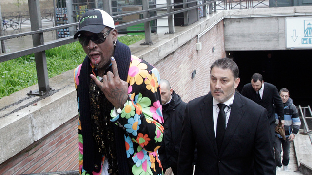 Dennis Rodman Is at the Vatican in a Flower-Printed Coat