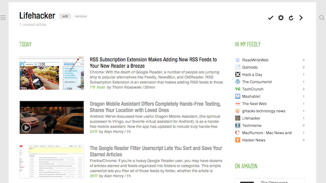 Most Popular Google Reader Alternative: Feedly