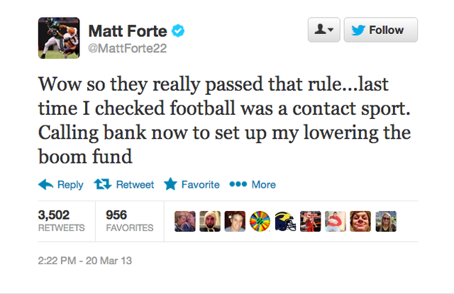 Matt Forte: not a huge fan of the new rules for runners approve…