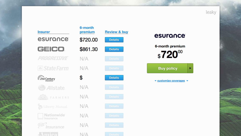Leaky Quickly Compares Car Insurance Quotes from Practically Every Provider