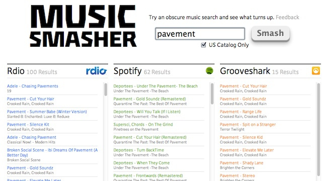Music Smasher Searches for Tracks on Rdio, Spotify, Grooveshark, and More