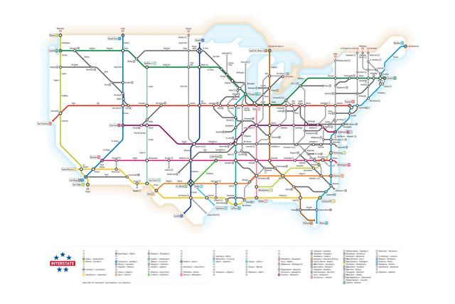 Plan Your Next Road Trip with The Ingenious US Interstates Subway Map