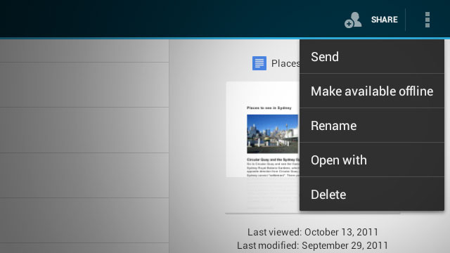 Google Docs for Android Update Provides Offline Access