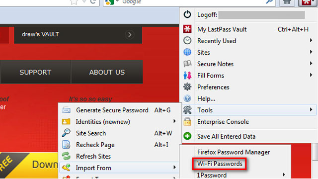 LastPass Update Imports and Exports Your Wi-Fi Passwords