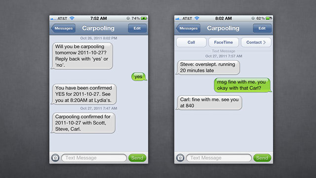 Damn Simple Carpooling Organizes Your Carpools via Automatic Group Text Messages