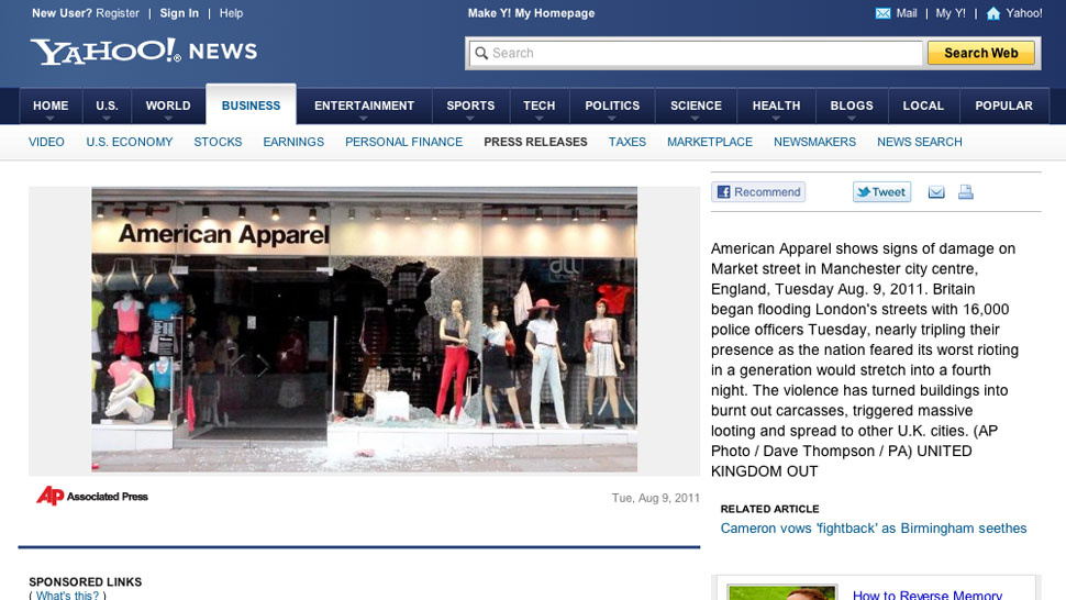 Not Even U.K. Looters Will Touch American Apparel Clothes