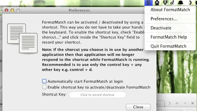 FormatMatch for Mac Pastes Text in All Applications Without Formatting