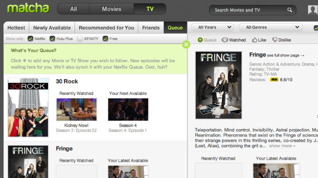 Matcha.tv Tracks and Puts Favorite TV Shows and Movies from Netflix and Hulu in One Place