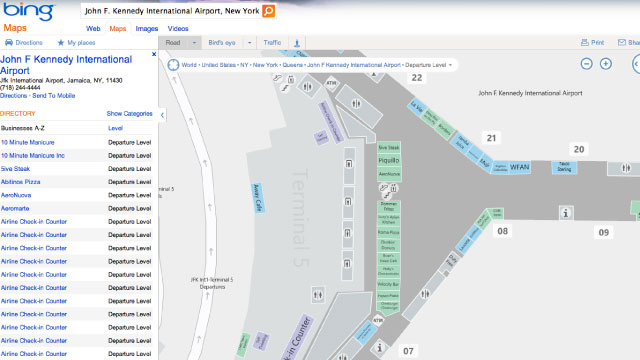 Bing Reveals Detailed Interior Maps of Airports