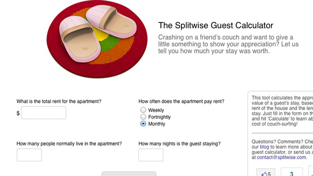 The Splitwise Guest Calculator Tells You How Much to Chip In for Crashing on the Couch