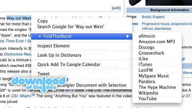 FindThatBand for Chrome Searches Over a Dozen Services For Artists Just by Right Clicking Them