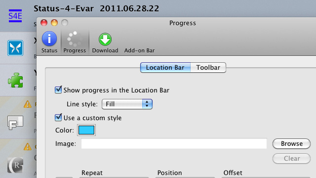 Status-4-Evar Brings Back the Progress Bar and Returns Linked URLS to the Location Bar