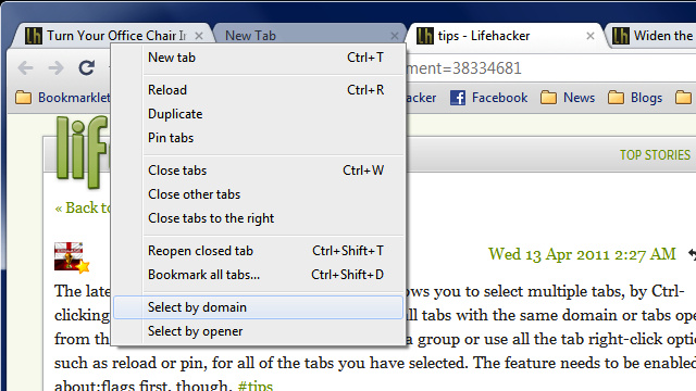Select Multiple Chrome Tabs by Domain or History