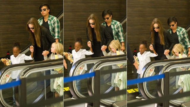 Angelina, Shiloh & Zahara Arrive In LaLa Land