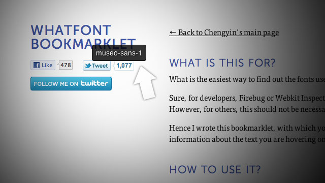 WhatFont Bookmarklet Identifies Fonts As You Browse with One Click