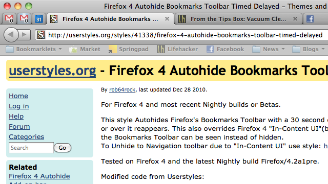 Automatically Hide the Firefox Bookmarks Bar When Not in Use