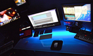 Glass Desks, Blue Tones, and Blinking Lights: The Music Mixer's Office - Gallery