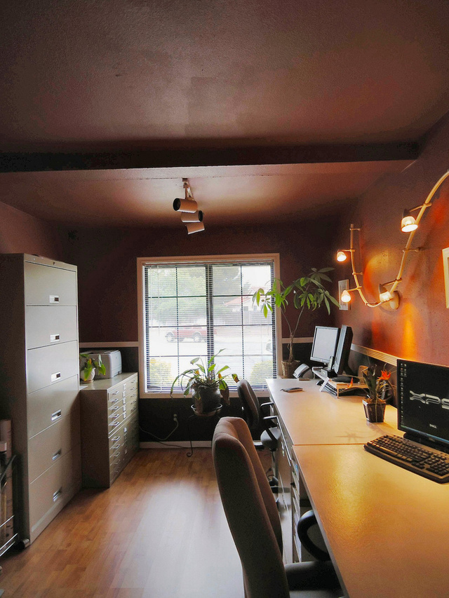 Red Walls and Dramatic Lighting: An Inexpensive Office Makeover - Gallery