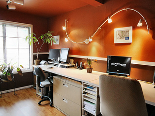 Red Walls and Dramatic Lighting: An Inexpensive Office Makeover