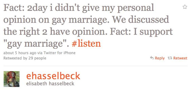 Elisabeth Hasselbeck Supports Gay Marriage