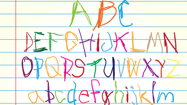 child's handwriting - tracing over