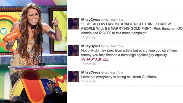 Miley Cyrus Bashes Urban Outfitters For Knock-Offs And Anti-Gay Politics