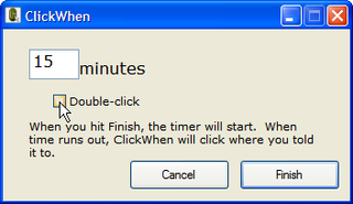Automate timed mouse clicks with ClickWhen