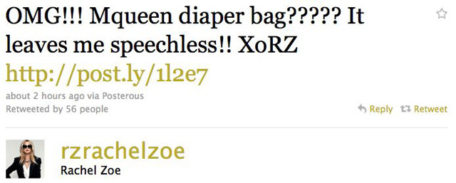 Rachel Zoe Gets McQueen Diaper Bag