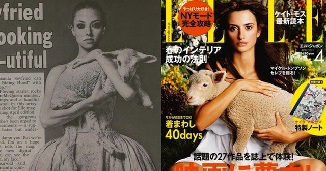 Elle's Curious Fixation With Actresses Holding Lambs