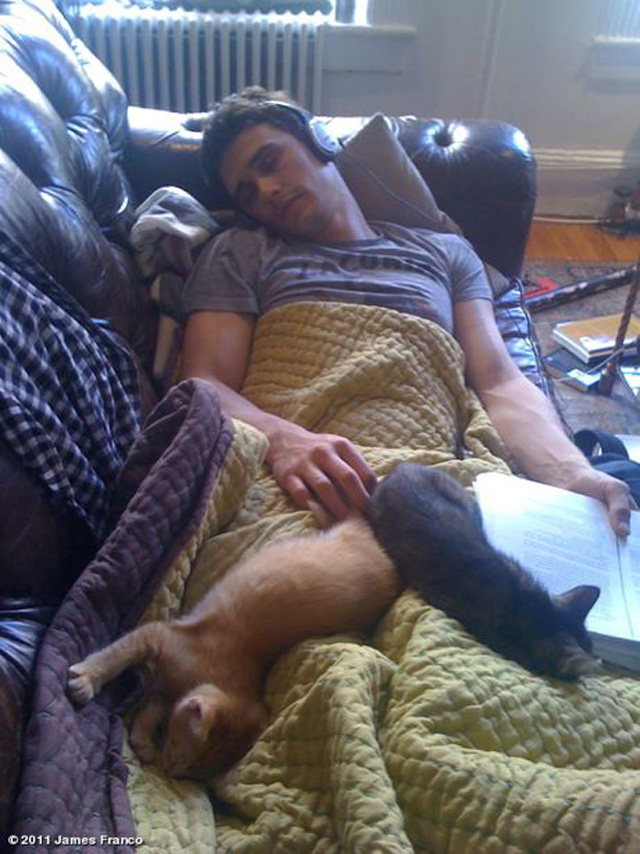 James Franco Adorably Sleeps With Cats