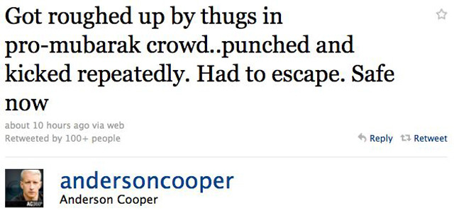 Anderson Cooper Gets Wounded In Egypt
