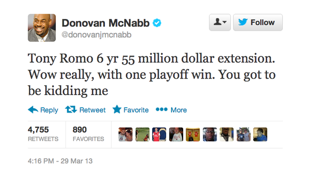 Donovan McNabb Is Mad About Tony Romo's New Contract