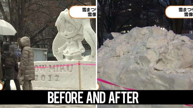 Virtual Idol's Snow Sculpture Injured Elderly Lady for Real