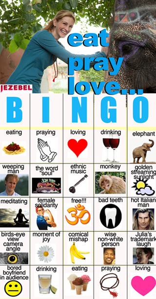 The Eat, Pray, Love Bingo Card Makes A Good Stocking-Stuffer