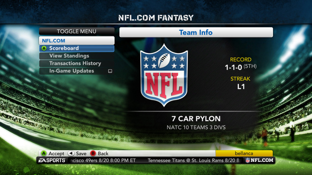 Check Your Fantasy Football League's Scores When You Play Madden NFL 12