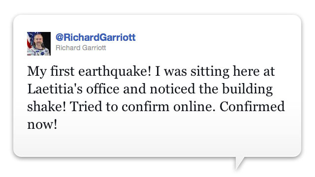 East Coast Earthquake? QUICK! To Twitter!