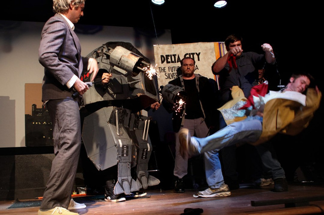 A live reenactment of RoboCop, with cardboard sets and explosions