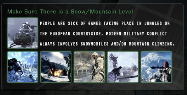 The Snow Cliché, And The Rest Of The Modern Combat Eye-Rollers