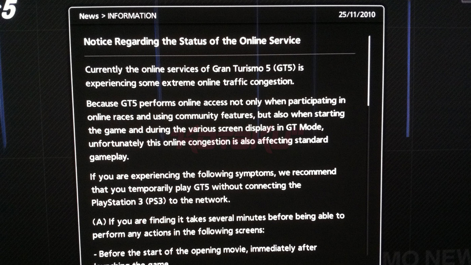 GT5 Online Woes Screw Up Your Singleplayer Games, Too