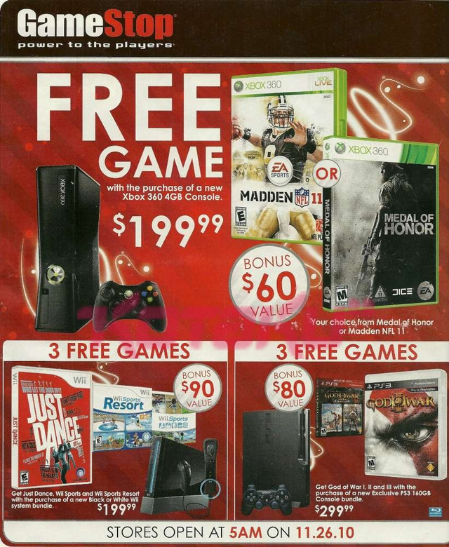 Leaked GameStop Black Friday Ads Includes PS3, Wii, Xbox 360 Bundles