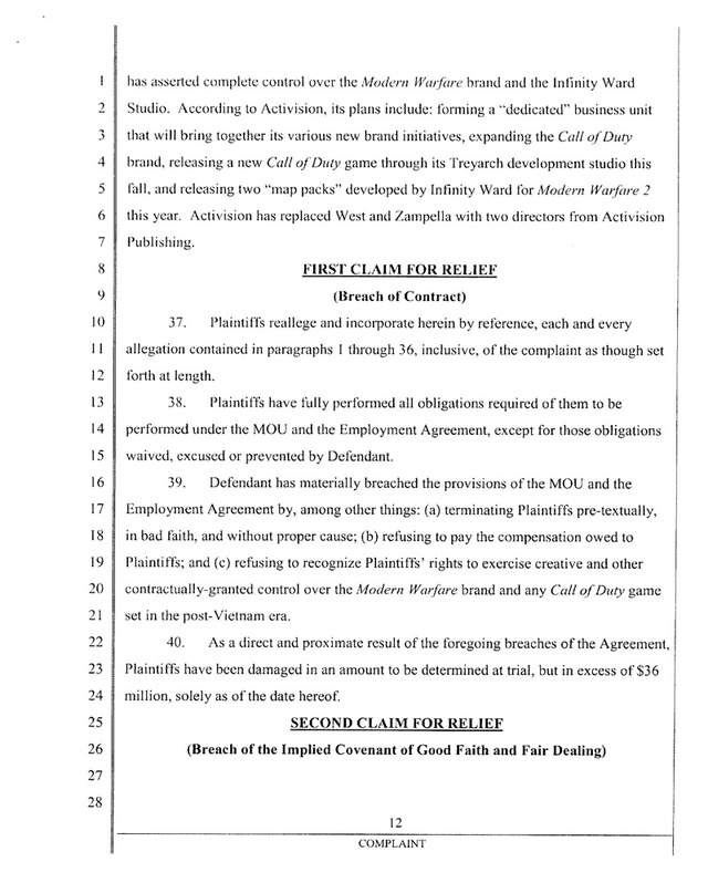 Ousted Infinity Ward Founders' Lawsuit Against Activision (The Court Documents)