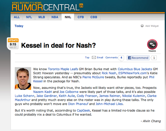 ESPN.com Passes Along Kessel-For-Nash Rumor, As Reported By Fake Pierre McGuire Twitter Account