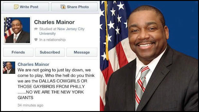 "Jersey City Assemblyman Is Sorry A Friend Wrote About Dallas ""Cowgirls"" And Philly ""Gaybirds"" On His Facebook Page"