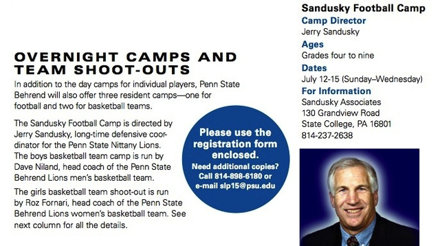As Recently As 2009, Jerry Sandusky Was Running An Overnight Football Camp For Kids On Penn State Campuses