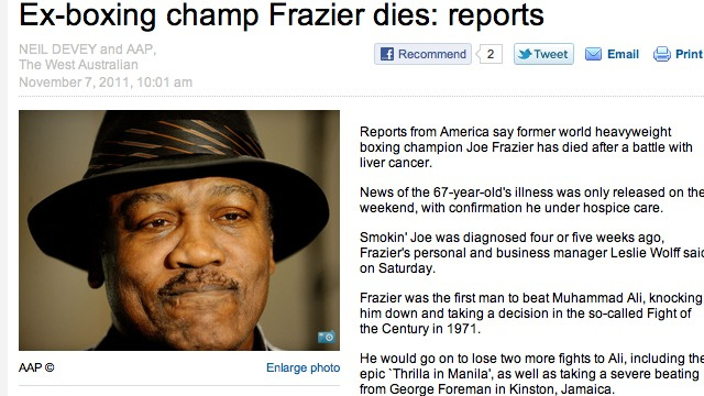 Joe Frazier Is Not Dead Yet, Despite One Australian Paper Desperate For A Scoop