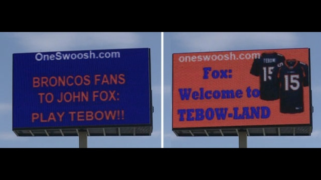 "The ""Play Tebow!!"" Billboard Is Live In Denver"