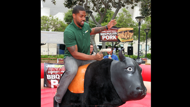 Arian Foster Stays In Shape By Riding A Mechanical Bull While Jared From Subway Looks On